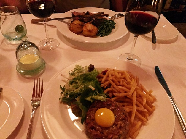 Don't believe me that it was authentic French? Here's the steak tartare to prove it, with Mark's rack of lamb in the background.