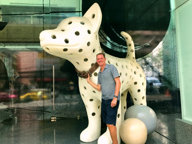 Mark found a big dog outside our hotel