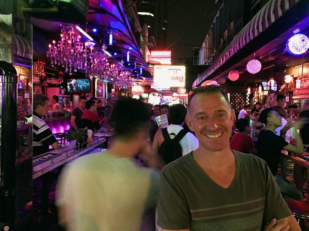 An amused Mark at the entrance to part of Bangkok's red light area