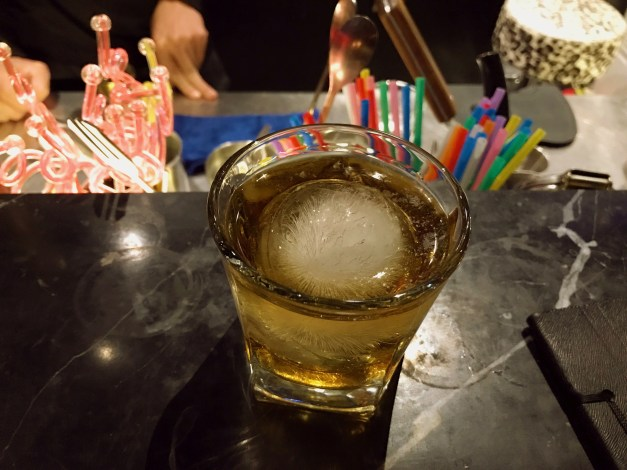 We found a nice looking bar near our hotel that was always pretty much empty except for us, notwithstanding the fact that there were a half-dozen or more people working there. We loved the big spherical ice cubes and the fact that a good-sized glass of Johnny Walker Black was $5.