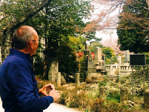 Here I am in the cemetery, though fortunately just passing through