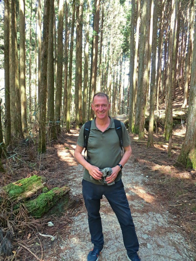 Mark with big tall straight trees along the Magome-Tsumago hike