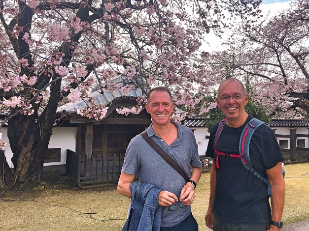 Here we are on the grounds of the Kanazawa Castle. The castle itself burned down long ago but the grounds - and cherry trees - are beautiful.