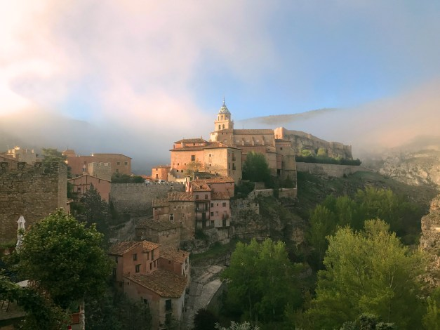 The town of Albarracín in the morning fog as seen from our hotel