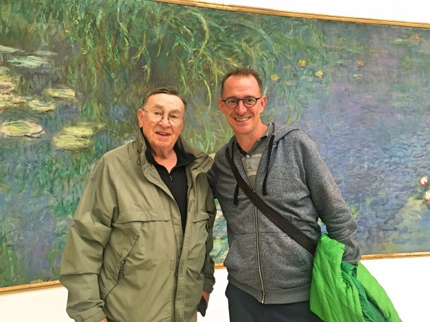 "Lidd & Mark in front of one of Monet's massive ""Water Lilies"" in the Orangerie"