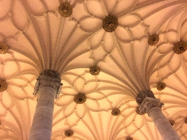 Built in the 16th century as a trading exchange, today La Lonja is used for temporary art exhibits. The show we saw was nice, a local Zaragozan artist, but the architecture was the real star. This is a shot of soaring columns reaching up to the ceiling.