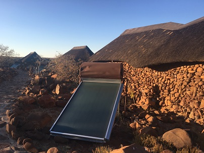 Solar hot water and no power sockets in the room at Grootberg Lodge