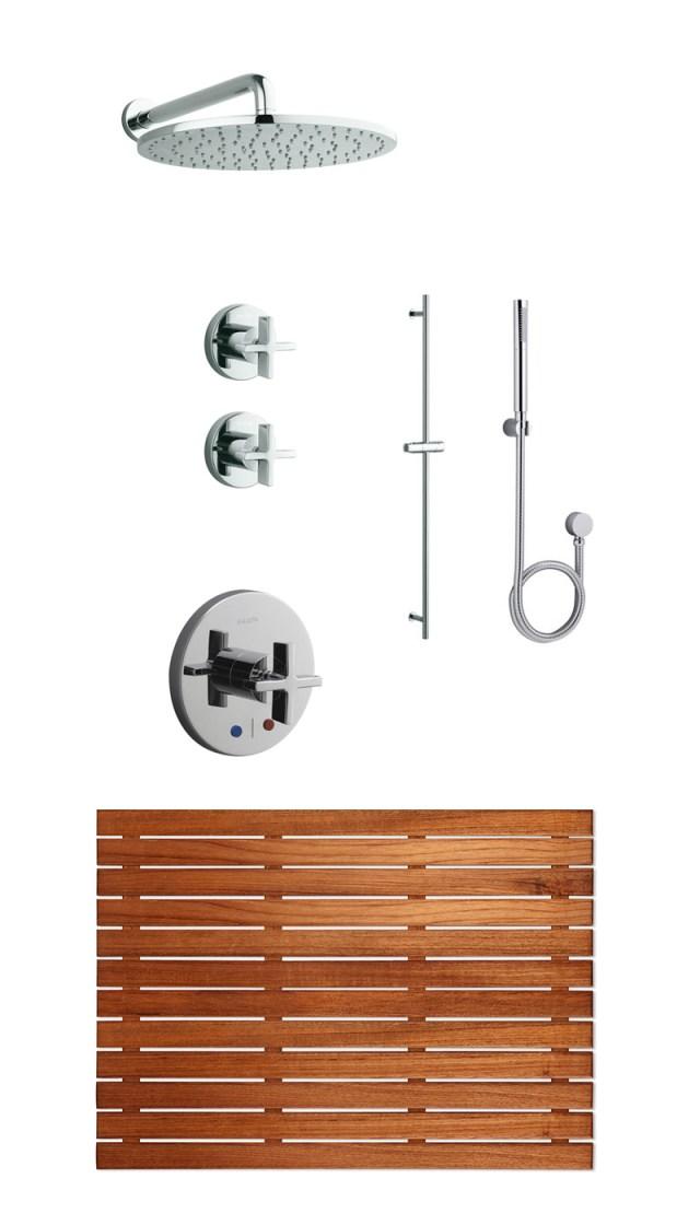 Kallista shower fittings and teak mat