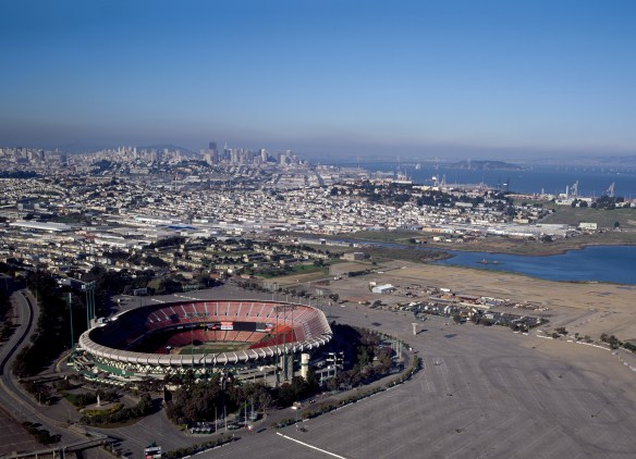 San Francisco aerial taken in the 1980s. Candlestick Park in the forefront.