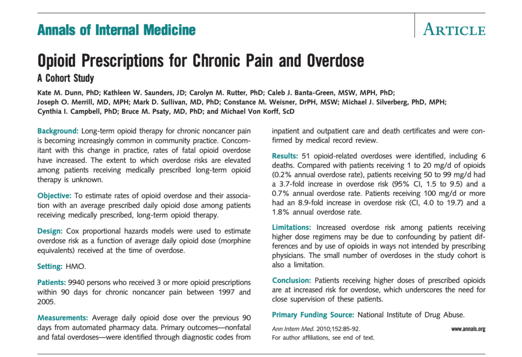Opioid Prescriptions for Chronic Pain and Overdose