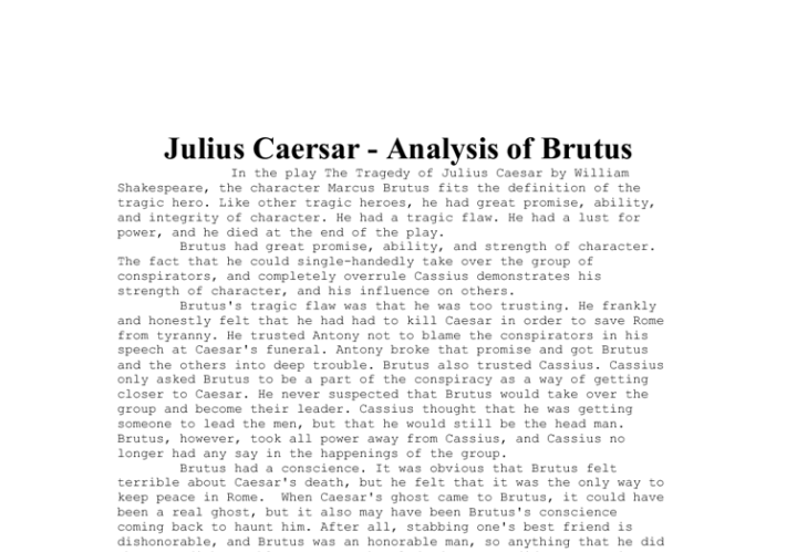 an analysis of the william shakespeares tragedy of julius caesar The themes in julius casar by william shakespeare, julius caesar theme   this play is based on the tragedy of major characters who die.