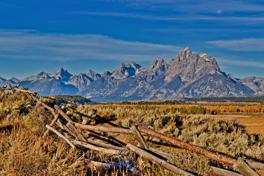 grand tetons, full moon