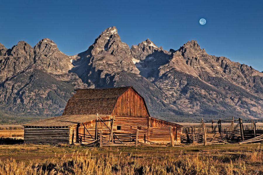 Mormon Row, Grand Tetons, Full Moon
