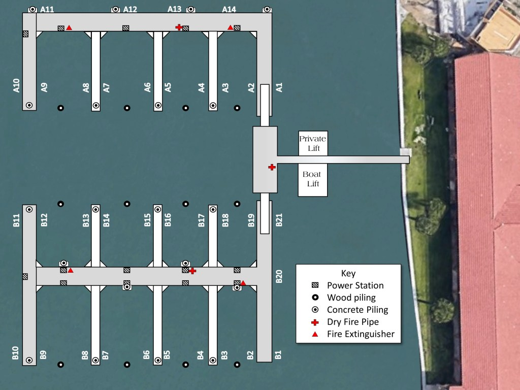 Marina layout for boaters