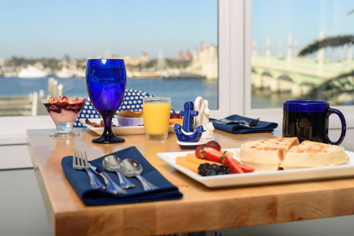 Breakfast table with view of bay