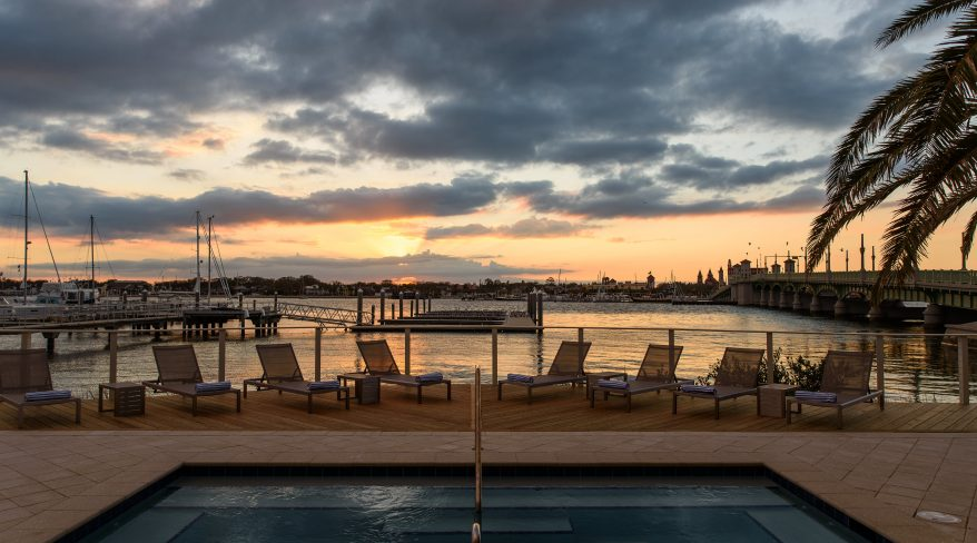 Spa Pool with marina and bay sunset view