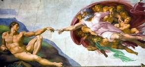 Michel-Ange, La Création d'Adam, fresque, 280 × 570 cm, Chapelle Sixtine, Rome (Vatican), 1508 - 1512.