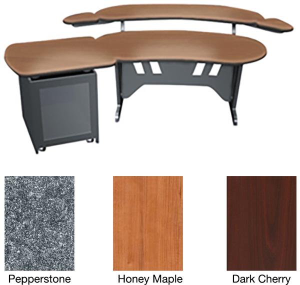 mid atlantic 60 inch desk w overbridge single bay rack dark cherry