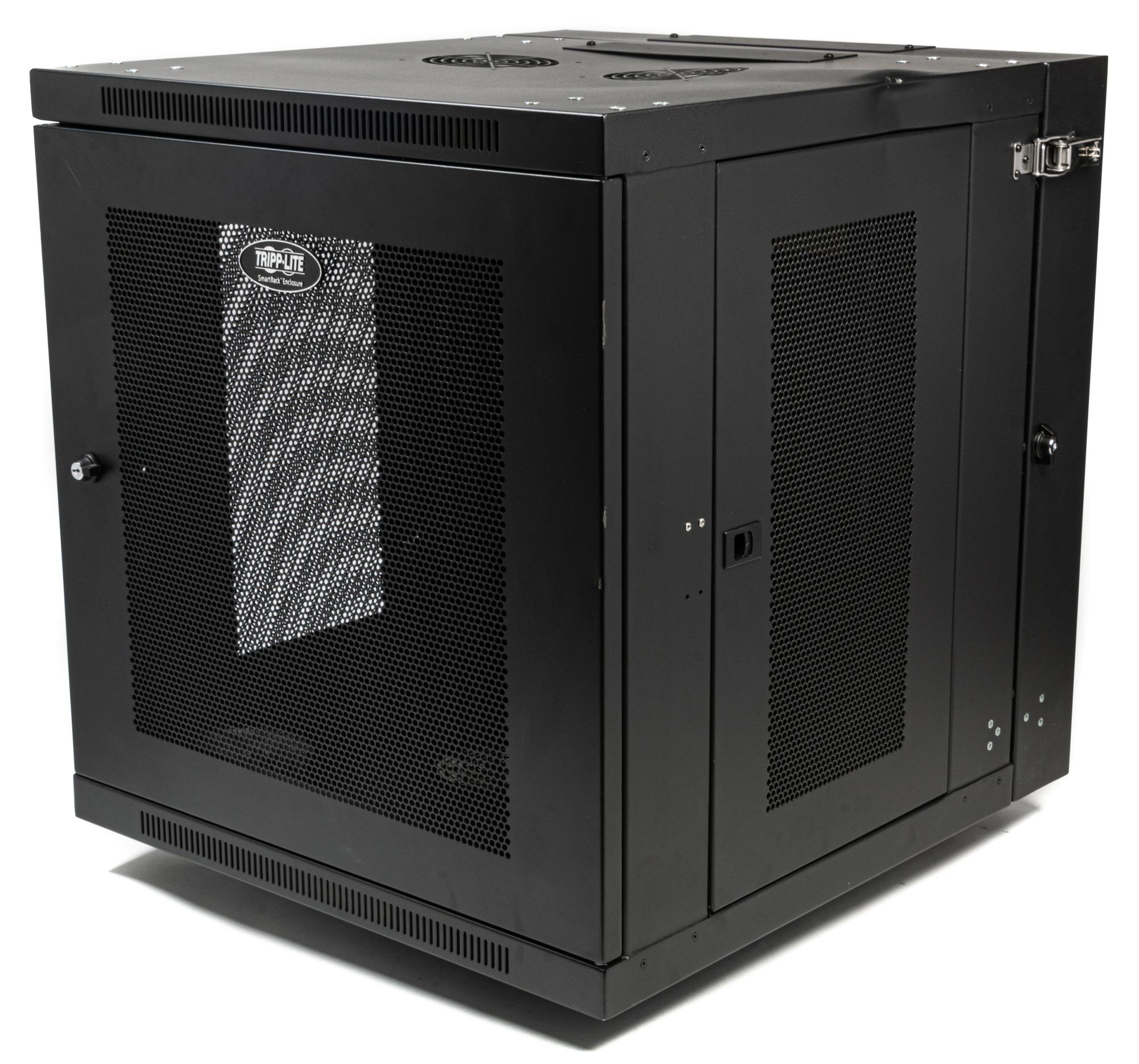 https www markertek com product trl srw12usdp bs tripp lite 12u wall mount rack enclosure cabinet double hinge removable side panels bstock dent on top corner of unit