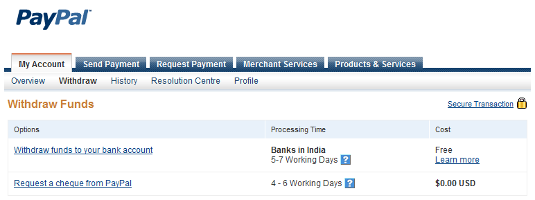 Transfer money to a bank account using paypal