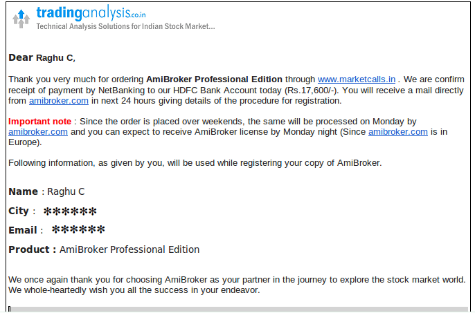 Purchase Amibroker License and get free online training session from Marketcalls