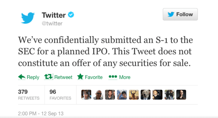 Twitter IPO notification