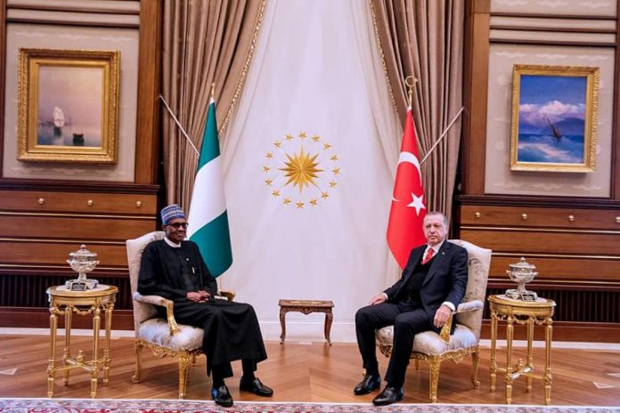 President Buhari and President Erdogan at the Turkish State House