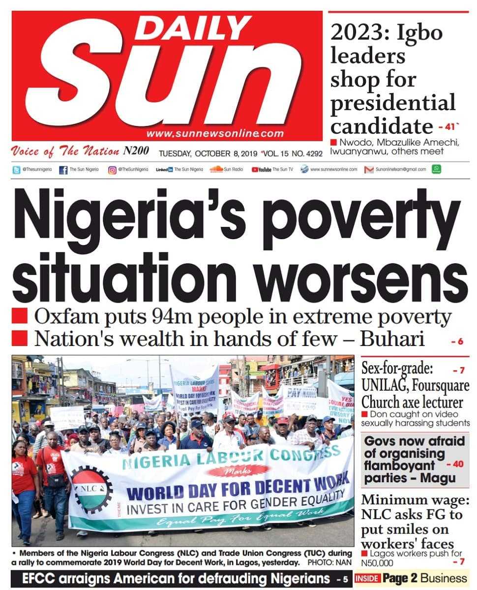Nigerian Newspaper Headlines (8th October, 2019) - Market ...
