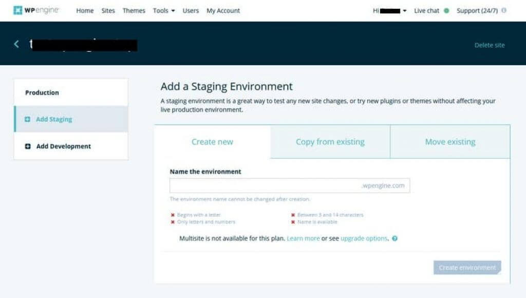 WP Engine - Staging Environment