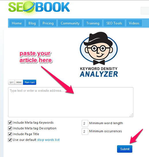 SEO Book Keyword Density Tool
