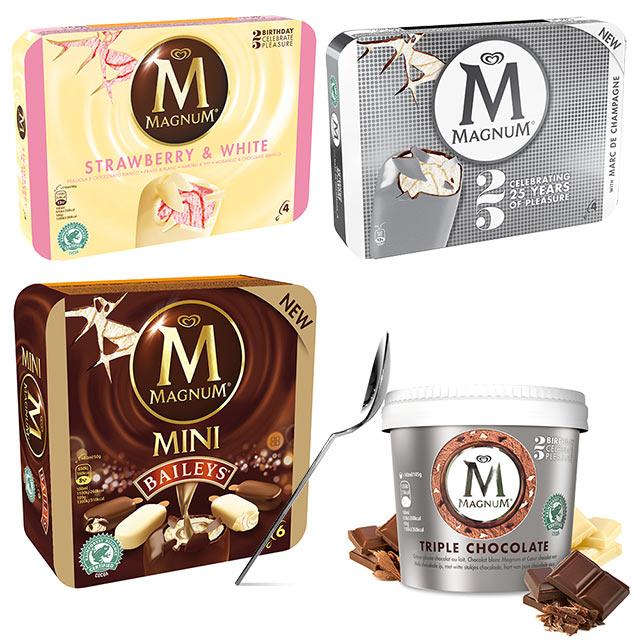 En avril 2014, la marque d'Unilever lance quatre innovations décapantes. Un classique et pourtant original vanille fraise (du jamais vu sur Magnum) et deux batonnets aux notes alcoolisées (Baileys et Marc de Champagne). La marque sort également une nouvelle référence de pot.