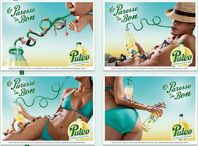 Avec sa nouvelle campagne en 2014, Pulco revient en pub et retrouve son identité : la paresse.