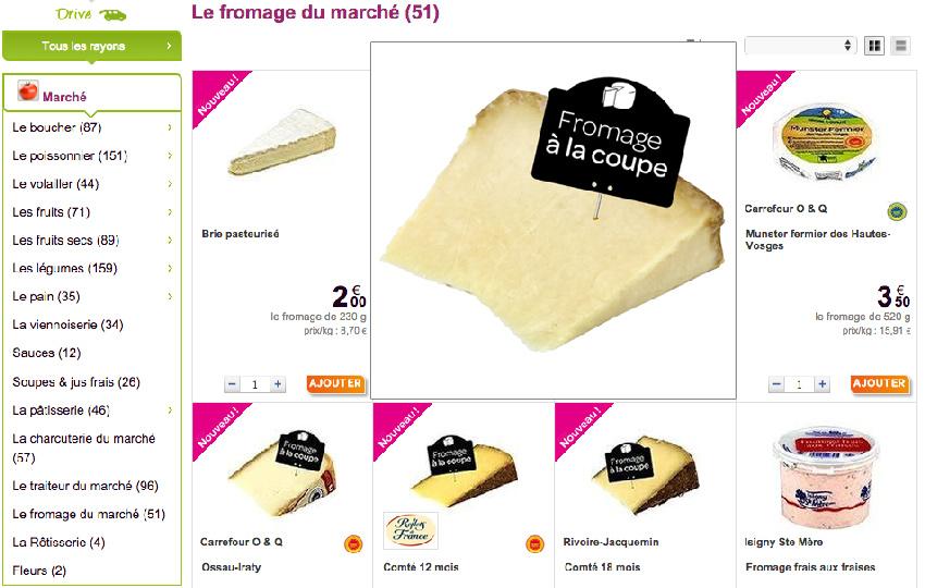 Carrefour vient d'ajouter à son assortiment drive une offre de plus de 10 fromages issus du rayon traditionnels