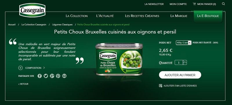 E-boutique Cassegrain : Capture d'écran