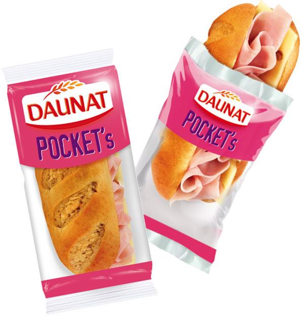 Les sandwiches Daunat Pocket's de 65 g sont regroupés par cinq dans un emballage carton vendu au rayon traiteur frais.