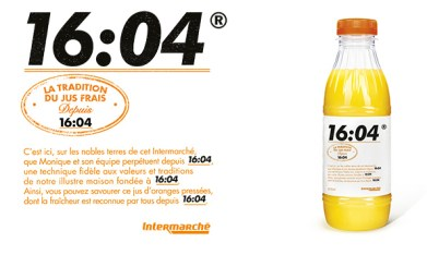 Intermarché a marketé le jus frais de son point de vente d'Issy-Les-Moulineaux. PVC : 1,50€ les 50 cl.