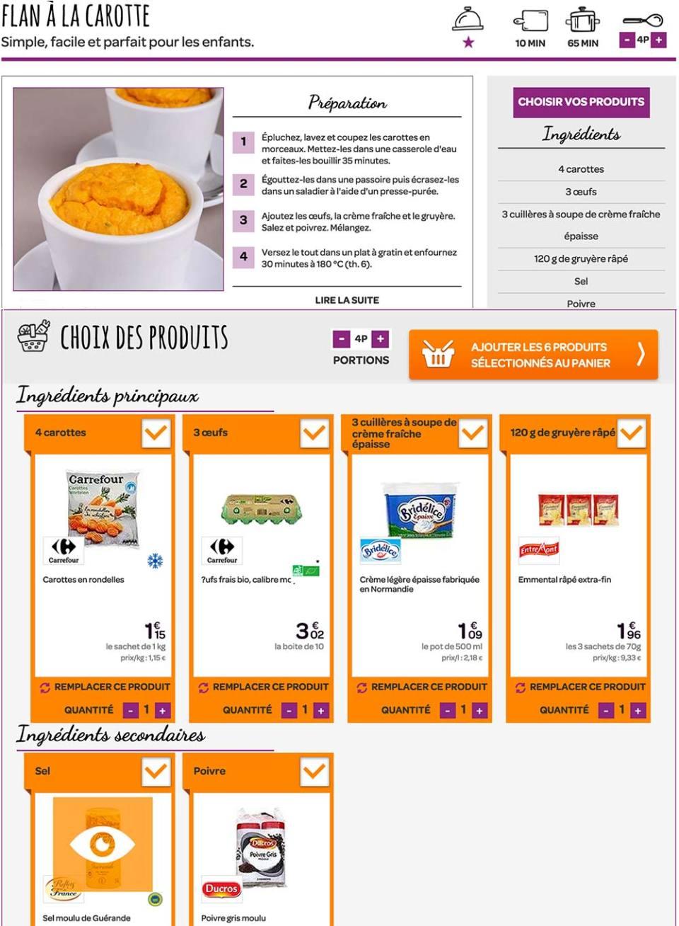 Depuis début avril 2015, Carrefour propose des idées recettes avec possibilité de commander via le drive les ingrédients nécessaires pour l'élaboration du plat.