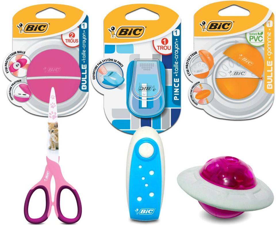 Bic élargit en 2015 sa gamme aux accessoires : gommes, ciseaux et tailles crayons.