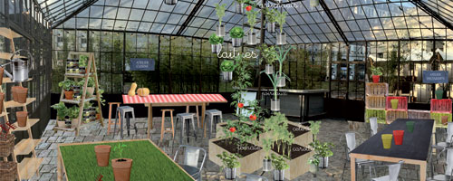 d'aucy transforme la Serre de la Rotonde en un véritable jardin de ville.