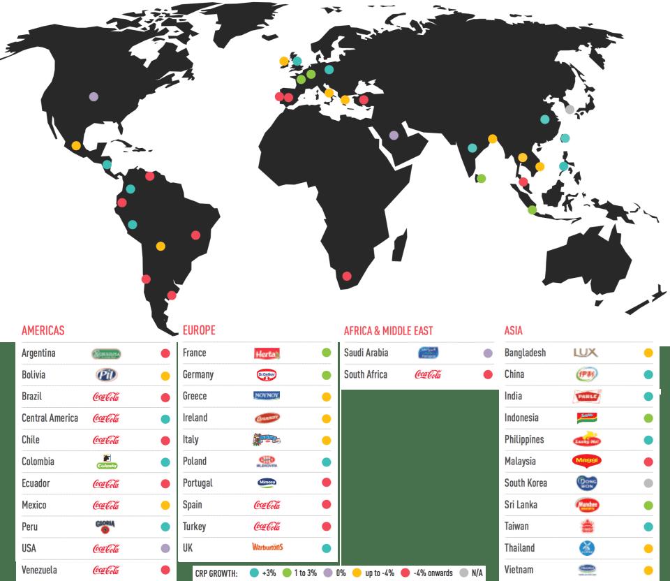 Coca Cola apparait en 1re place dans 10 pays sur 34.
