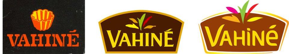Succession des logos Vahiné depuis la création de la marque en 1972.