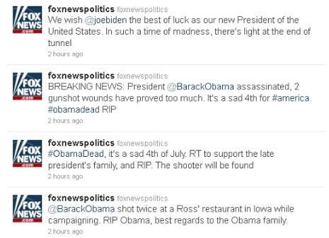 Los hackers asaltan la cuenta de Fox en Twitter y difunden la noticia del asesinato de Obama