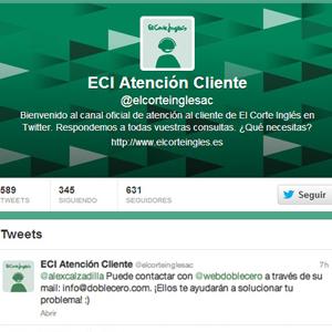 El Corte Inglés ahora atiende a sus clientes también vía Twitter