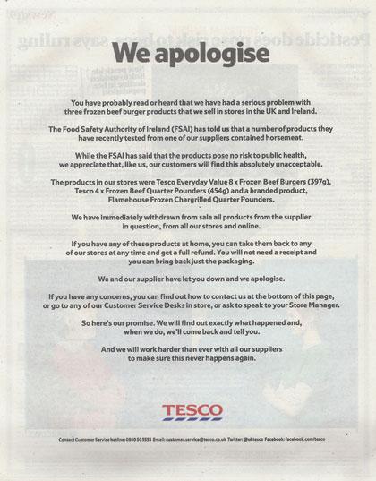 Tesco se disculpa por la presencia de carne de caballo en sus hamburguesas mediante publicidad impresa