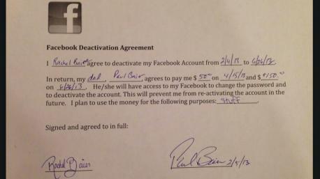 Una adolescente firma un contrato para desactivar su cuenta de Facebook y superar así su adicción a la red social