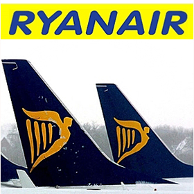Ryanair logo with plane tips