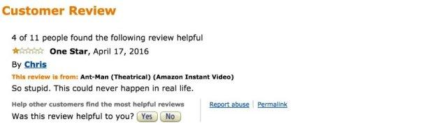 Screenshot Fiese Ein-Stern-Bewertungen bei Amazon und Co./ 04_Antman_Amazon