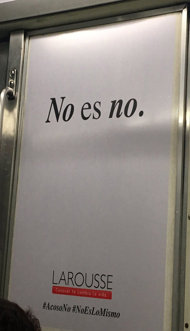 Larousse lucha contra el acoso en esta campaña del metro de Ciudad de México
