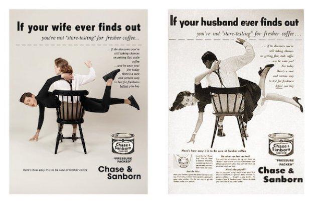 """Un creativo invierte roles de género en antiguos anuncios para dar a los hombres """"un poco de su propio veneno sexista"""""""