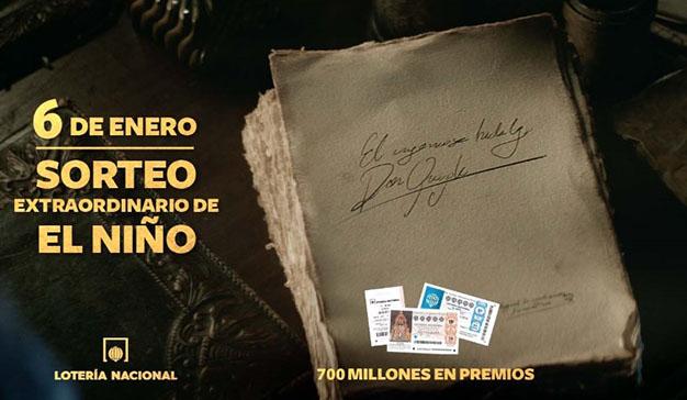 Un insistente Cervantes, protagonista del nuevo spot para el sorteo de El Niño